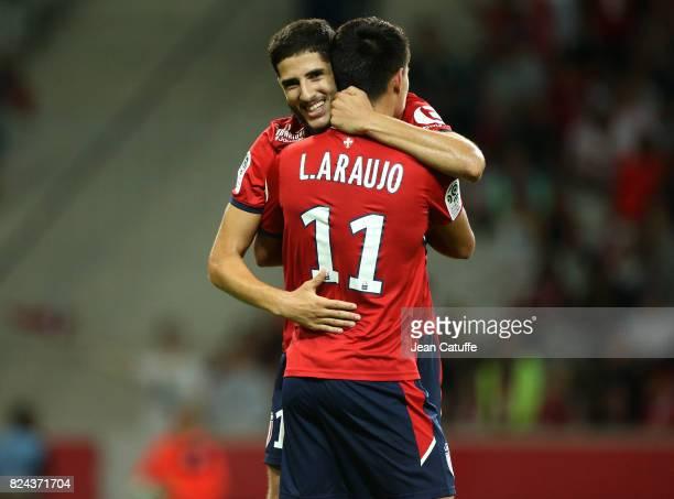 Yassine Benzia of Lille celebrates his goal with Luiz Araujo during the preseason friendly match between Lille OSC and Stade Rennais FC at Stade...