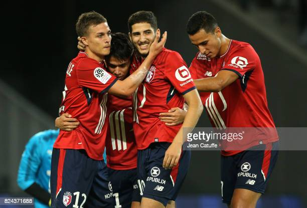 Yassine Benzia of Lille celebrates his goal with Nicolas De Preville Luiz Araujo Anwar El Ghazi during the preseason friendly match between Lille OSC...