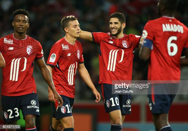 Yassine Benzia of Lille celebrates his goal with Nicolas De Preville during the preseason friendly match between Lille OSC and Stade Rennais FC at...