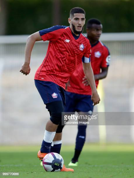 Yassine Benzia of Lille during the Club Friendly match between Lille v Reims at the Stade Paul Debresie on July 14 2018 in Saint Quentin France
