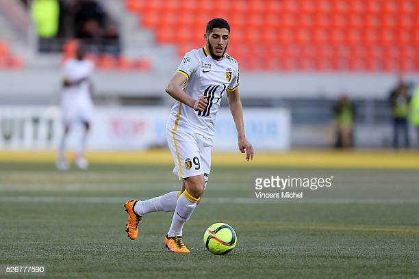 Yassine Benzia of Lille during the French Ligue 1 match between Fc Lorient and Lille OSC at Stade du Moustoir on April 30 2016 in Lorient France