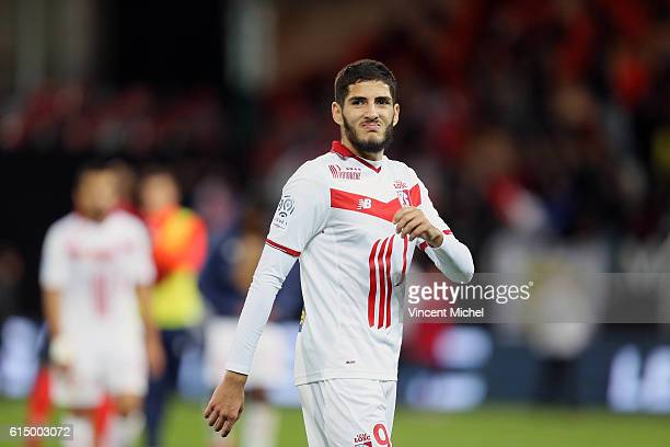 Yassine Benzia of Lille during the Ligue 1 match between EA Guingamp and Lille OCS at Stade du Roudourou on October 15 2016 in Guingamp France