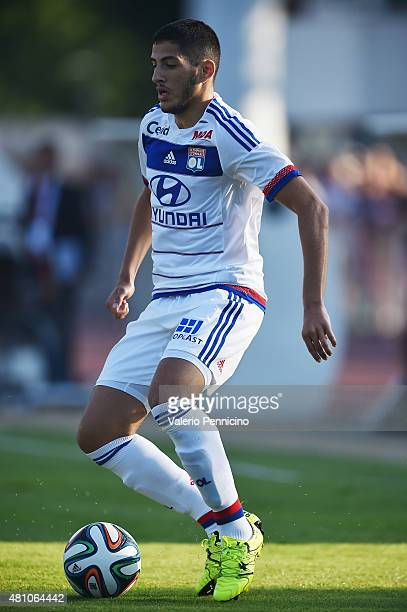Yassine Benzia of Olympique Lyonnais in action during the preseason friemdly match between Olympique Lyonnais and PSV Eindhoven on July 15 2015 in...