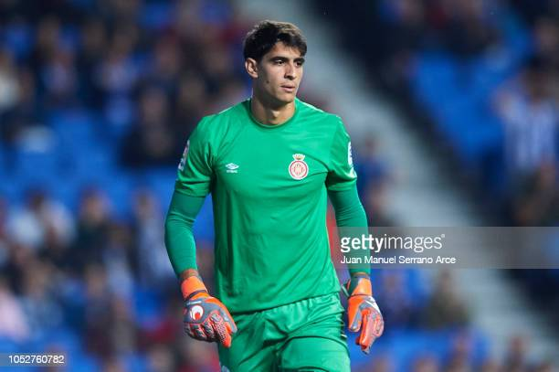 Yassine Bounou 'Bono' of Girona FC looks on during the La Liga match between Real Sociedad and Girona FC at Estadio Anoeta on October 22 2018 in San...