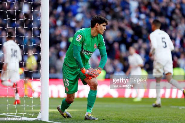 Yassine Bounou Bono seen in action during the Spanish La Liga match between Real Madrid and Girona CF at the Santiago Bernabeu Stadium in Madrid Spain