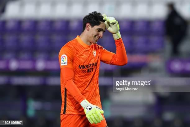 Yassine Bounou of Sevilla FC celebrates scoring his teams first goal during the La Liga Santander match between Real Valladolid CF and Sevilla FC at...
