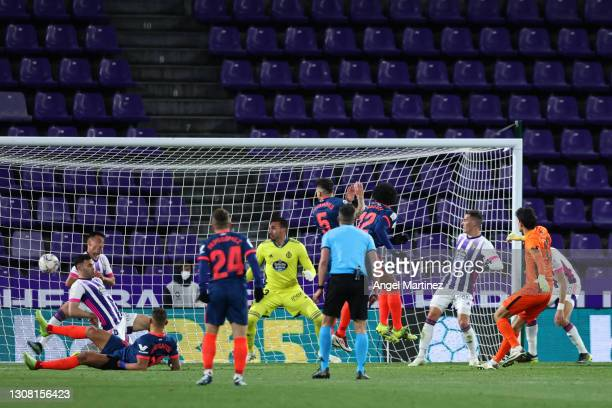 Yassine Bounou of Sevilla FC scores their team's first goal during the La Liga Santander match between Real Valladolid CF and Sevilla FC at Estadio...
