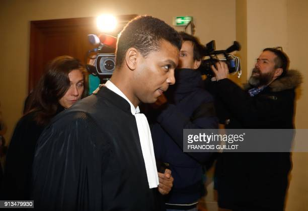 Yassine Bouzrou lawyer of Islamic scholar Tariq Ramadan walks in the courthouse of Paris on February 2 during his client's hearing following rape...
