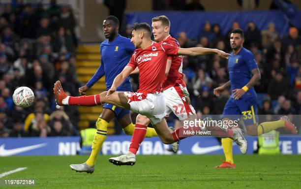 Yassine EnNeyah of Nottingham Forest stretches for the ball during the FA Cup Third Round match between Chelsea and Nottingham Forest at Stamford...