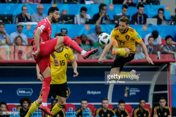 Yassine Meriah of Tunisia and Dries Mertens of Belgium during BelgiumTunisia match valid for the second round of group G of the 2018 World Cup held...