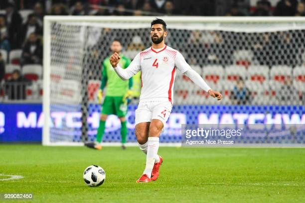 Yassine Meriah of Tunisia during the International friendly match between Tunisia and Costa Rica at Allianz Riviera Stadium on March 27 2018 in Nice...