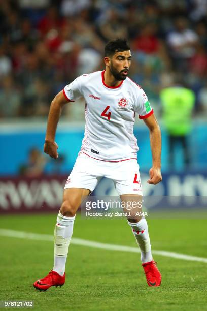 Yassine Meriah of Tunisia in action during the 2018 FIFA World Cup Russia group G match between Tunisia and England at Volgograd Arena on June 18...