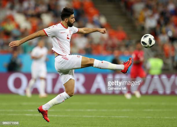 Yassine Meriah of Tunisia in action during the 2018 FIFA World Cup Russia group G match between Panama and Tunisia at Mordovia Arena on June 28 2018...