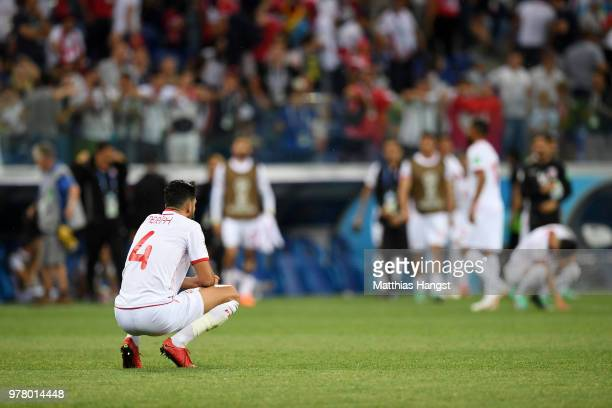 Yassine Meriah of Tunisia looks dejected following his sides defeat in the 2018 FIFA World Cup Russia group G match between Tunisia and England at...