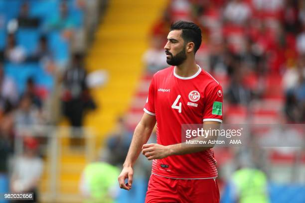 Yassine Meriah of Tunisia looks on during the 2018 FIFA World Cup Russia group G match between Belgium and Tunisia at Spartak Stadium on June 23 2018...