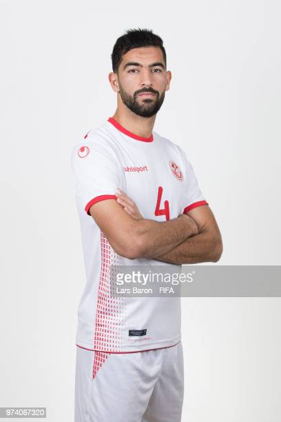 Yassine Meriah of Tunisia poses during the official FIFA World Cup 2018 portrait session on June 13 2018 in Moscow Russia