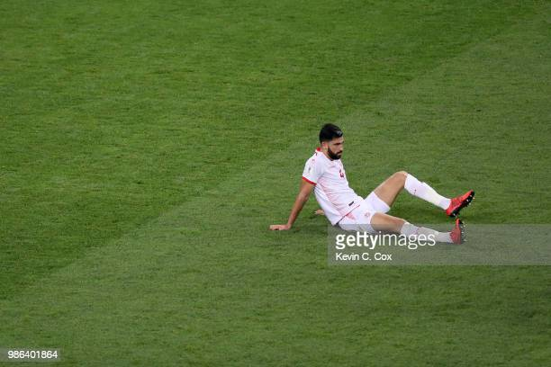 Yassine Meriah of Tunisia reacts following the 2018 FIFA World Cup Russia group G match between Panama and Tunisia at Mordovia Arena on June 28 2018...