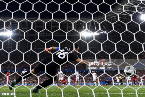 Yassine Meriah of Tunisia scores an own goal past Aymen Mathlouthi to put Panama in front 10 during the 2018 FIFA World Cup Russia group G match...