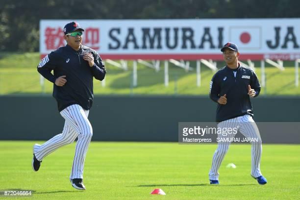 Yasuaki Yamasaki and Shota Imanaga of Samurai Japan in action during a Japan training session on November 9 2017 in Miyazaki Japan