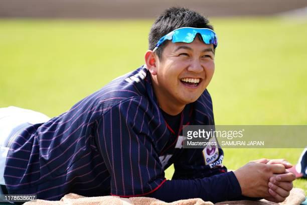 Yasuaki Yamasaki of Japan smiles during a Samurai Japan training session at the Okinawa Cellular Stadium Naha on October 28, 2019 in Naha, Okinawa,...