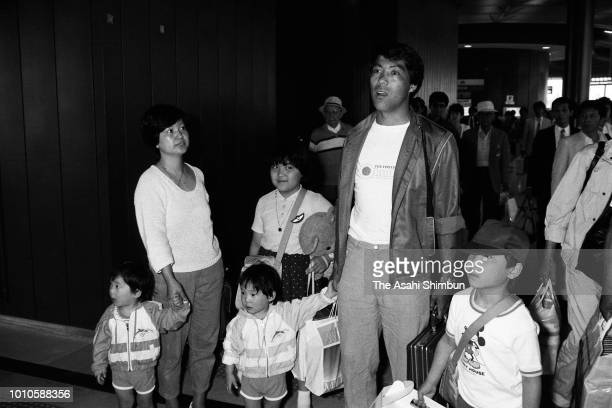 Yasuhiko Okudera of Werder Bremen is seen on arrival with his family at Narita Airport on June 10 1985 in Narita Chiba Japan