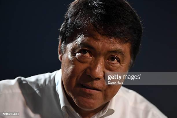 Yasuhiko Okuderapresident of Yokohama FC looks on during the JLeague second division match between Yokohama FC and Consadole Sapporo at the Nippatsu...
