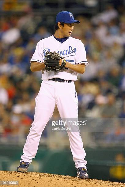 Yasuhiko Yabuta of the Kansas City Royals lines up a pitch during the game against the Boston Red Sox on September 24 2009 at Kauffman Stadium in...