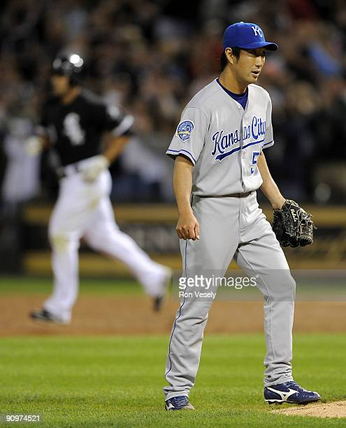 Yasuhiko Yabuta of the Kansas City Royals looks on after Carlos Quentin of the Chicago White Sox hit a grand slam home run on September 19 2009 at US...