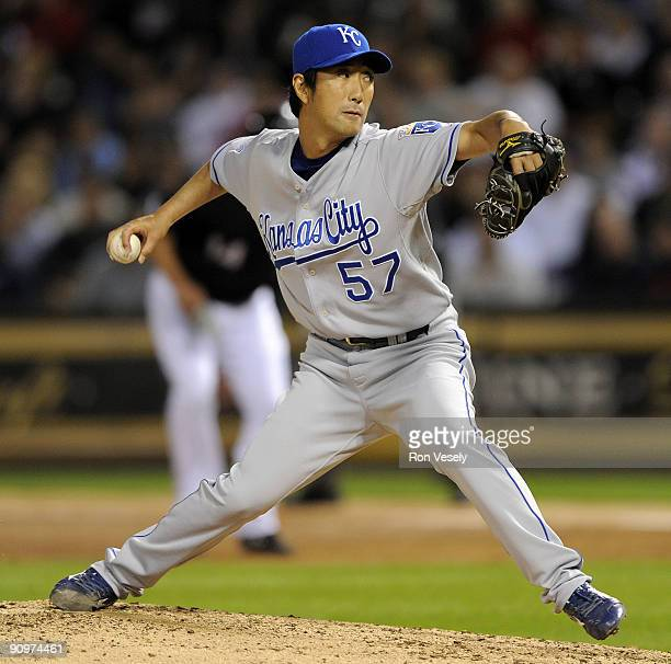 Yasuhiko Yabuta of the Kansas City Royals pitches against the Chicago White Sox on September 19 2009 at US Cellular Field in Chicago Illinois
