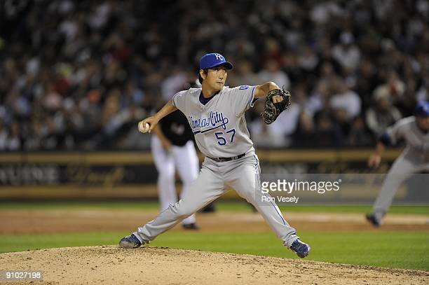 Yasuhiko Yabuta of the Kansas City Royals pitches against the Chicago White Sox on September 19 2009 at US Cellular Field in Chicago Illinois The...