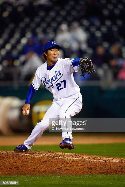 Yasuhiko Yabuta of the Kansas City Royals pitches against the New York Yankees on April 9 2008 at Kauffman Stadium in Kansas City Missouri