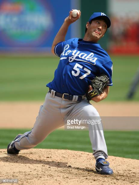Yasuhiko Yabuta of the Kansas City Royals pitches against the Oakland Athletics during the game at the OaklandAlameda County Coliseum on September 2...