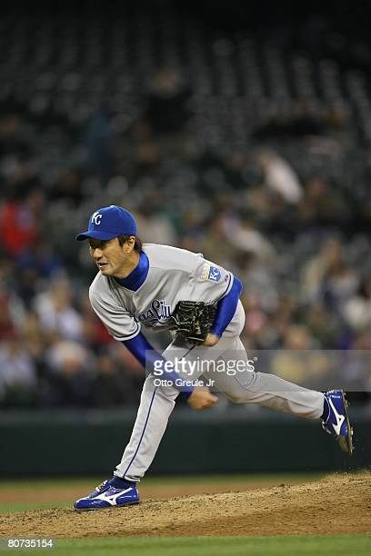 Yasuhiko Yabuta of the Kansas City Royals pitches against the Seattle Mariners on April 15 2008 at Safeco Field in Seattle Washington
