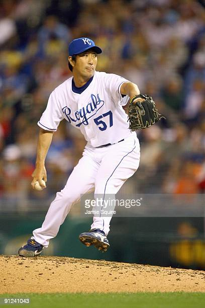 Yasuhiko Yabuta of the Kansas City Royals pitches during the game against the Boston Red Sox on September 24 2009 at Kauffman Stadium in Kansas City...