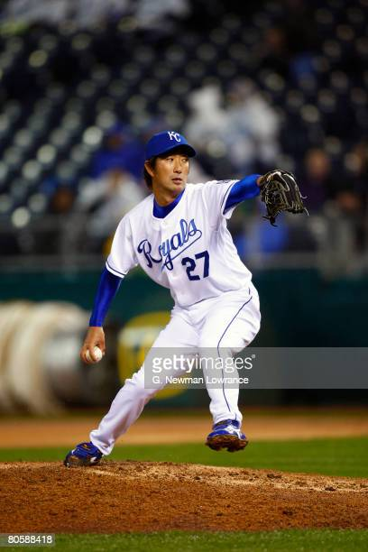 Yasuhiko Yabuta of the Kansas City Royals pitches in relief against the New York Yankees on April 9 2008 at Kauffman Stadium in Kansas City Missouri