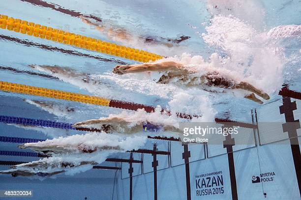 Yasuhiro Koseki of Japan starts the Men's 200m Breaststroke Final on day fourteen of the 16th FINA World Championships at the Kazan Arena on August 7...