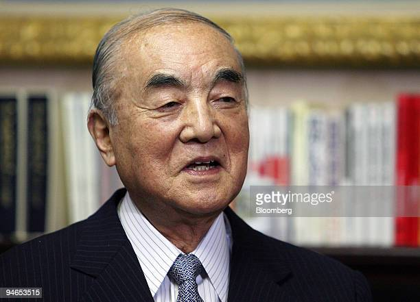 Yasuhiro Nakasone, former prime minister of Japan, speaks during an interview in Tokyo, Japan, on Tuesday, Feb. 6, 2007.