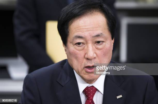 Yasuhiro Sato president and chief executive officer of Mizuho Financial Group Inc speaks during a news conference in Tokyo Japan on Monday Jan 15...