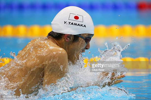 Yasuhiro Tanaka of Japan competes in the Men's 100m Breaststroke SB14 final on day 8 of the London 2012 Paralympic Games at Aquatics Centre on...