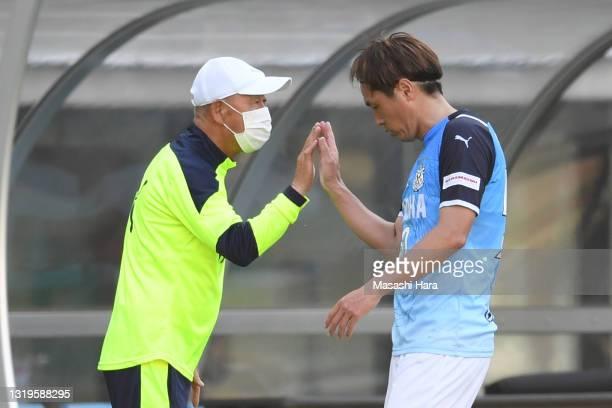 Yasuhito Endo and Masakazu Suzuki, coach of Jubilo Iwata look on during the J.League Meiji Yasuda J2 match between Tokyo Verdy and Jubilo Iwata at...