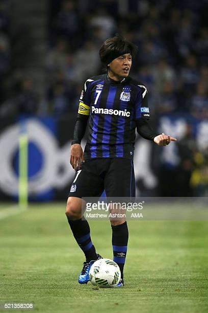Yasuhito Endo of Gamba Osaka during the JLeague match between Gamba Osaka and Kashiwa Reysol at the Suita City Football Stadium on April 15 2016 in...