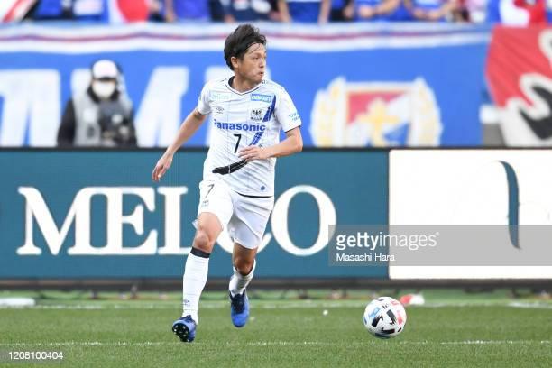 Yasuhito Endo of Gamba Osaka in action during the J.League MEIJI YASUDA J1 match between Yokohama F.Marinos and Gamba Osaka at Nissan Stadium on...
