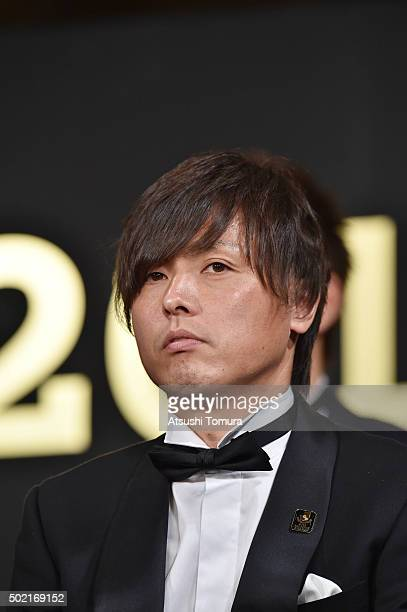Yasuhito Endo of Gamba Osaka is awarded as the best eleven players during the J League Awards 2015 on December 21 2015 in Tokyo Japan