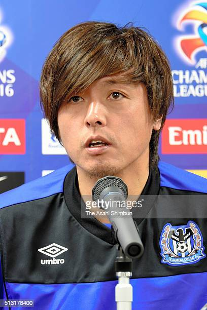 Yasuhito Endo of Gamba Osaka speaks during a press conference ahead of the AFC Champions League Group G match against Melbourne Victory at the Suita...