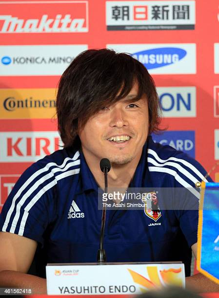Yasuhito Endo of Japan speaks during the official press conference ahead of the Asian Cup game against Iraq at Brisbane Stadium on January 15, 2015...