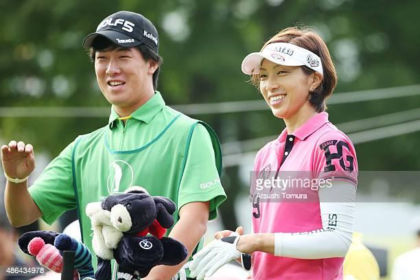 Yasuko Sato of Japan smiles during the first round of the Golf 5 Ladies Tournament 2015 at the Mizunami Country Club on September 4 2015 in Mizunami...