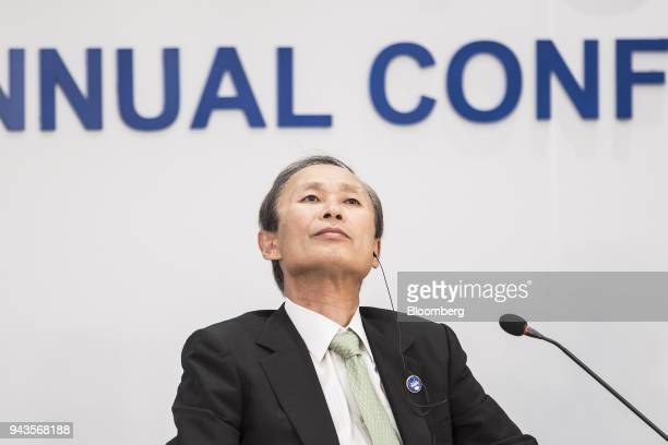 Yasumi Kudo chairman of Nippon Yusen KK listens during a session at the Boao Forum for Asia Annual Conference in Boao China on Monday April 9 2018...