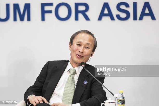 Yasumi Kudo chairman of Nippon Yusen KK speaks during a session at the Boao Forum for Asia Annual Conference in Boao China on Monday April 9 2018...