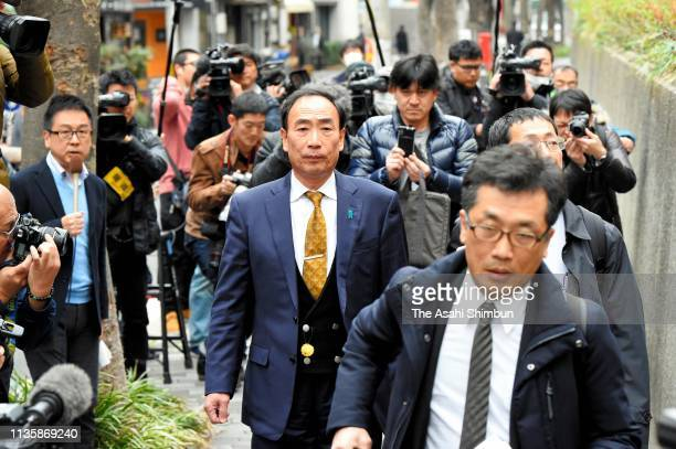 Yasunori Kagoike former head of scandalhit school operator Moritomo Gakuen enters the Osaka District Court on March 06 2019 in Osaka Japan The...