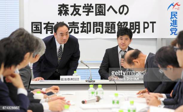 Yasunori Kagoike the former head of the Moritomo Gakuen educational institution appears at a hearing hosted by opposition Democratic Party at a Lower...